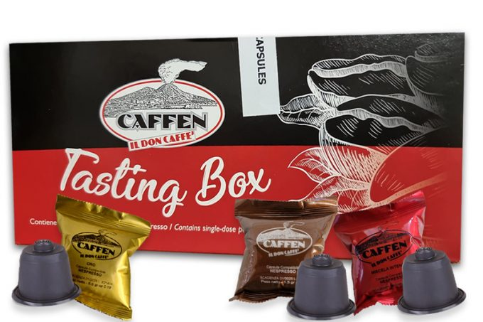 Dicaffè Tasting Box von 100% made in Naples Kaffeemischung: Oro, Classica, Intensa. Alle Nespresso Kompatibel.